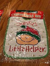 "Two Christmas Baby Bibs Plastic ""Santa's Little Helper"" New in Original Package"
