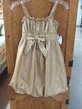 NWT! Girl's Gold SPEECHLESS Party Dress Size 7 Belle Style with Bow