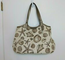 Coach Signature Stripe Shell Print Beach Starfish Shoulder Bag Tote F29063-exc!