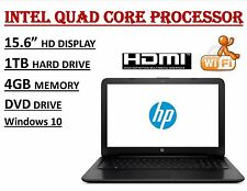 "HP 15.6"" HD Laptop Intel Pentium N3700 4GB 1TB DVDRW WebCam WiFi Windows 10"