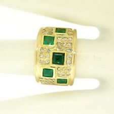 14k Yellow Gold 2.25ctw Square Bezel Set Emerald & Pave Diamond Wide Band Ring