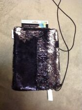 2 Way Sequin Sparkle Black To Silver Tablet  Sleeve With Carry Strap 10.1