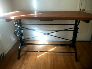 """1890-1900 The Frederick Post Co. Cast Iron 61""""x37"""" Maple Drafting Table - Chicag"""