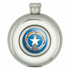 New listing Northern Mariana Islands Us Territory Flag Round Stainless Steel 5oz Hip Flask
