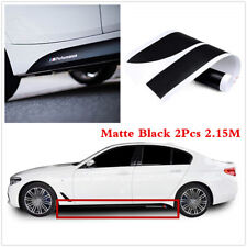 2Pcs Matte Black M Performance Car Side Skirt Sill Decal Stickers 2.15M For BMW