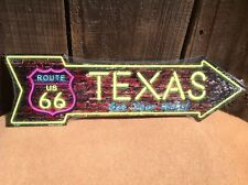 """Route 66 Texas High This Way To Arrow Sign Neon Lights Novelty Metal 17"""" x 5"""""""