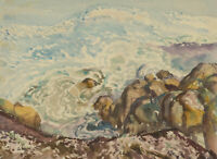 F. Allen - Early 20th Century Watercolour, Coastal Rocks