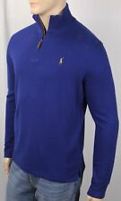 Polo Ralph Lauren Royal Blue Estate Rib Half Zip Sweater Multi Color Pony NWT