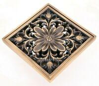Antique Brass Square Shower Drain Floor Waste Drain Cover Strainer ehr026