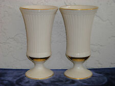 Pair of Lenox Ribbed Vases with Gold Trim