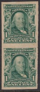 Sc# 314 U.S 1¢ Benjamin Franklin Imperf vertical pair 1906 -1908 MLMH CV $30.00