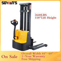 "Electric Walkie Straddle Pallet Jack Stacker Lift Height 118"" 2640lbs Capacity"