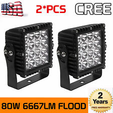 2X 80W CREE LED Work Light Flood Beam Round Fog Off-road Jeep Square 4WD 5.3Inch