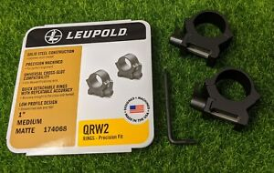 "Leupold QRW2 Quick Detach 1"" Medium Scope Rings, Matte Black - 174068"