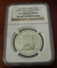 Isle of Man 2013 Platinum 1 Oz 1 Noble NGC PF70UC High Relief Mintage - 500