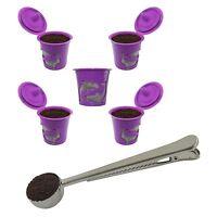 5-Pack Reusable K cup Keurig 2.0 & 1.0 Coffee Filter Pod Coffee Scoop Clip Combo