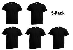 Pack Of 5 10 Fruit of the Loom Mens Original T Shirt Plain Blank Cotton Tee Top