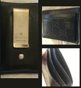 Authentic Gucci GG Black leather Wallet Money Clip Card Holder