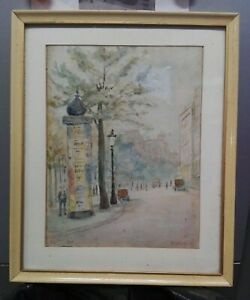 Acquerello firmato scorcio di Parigi 1909 cm 20x27 Antikidea
