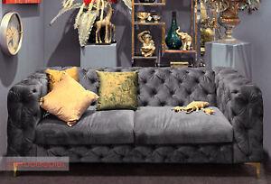 Vintage Sofa Polstersofa Loungesofa modern barock Samtoptik grau Füße gold