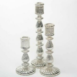 Ribbed Unique Mercury Glass Taper Candle Holder Set of 3