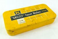 Vintage Grizzly Faucet Washers Metal Storage Box, Contents Vintage Advertising.