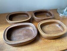 More details for danish vintage richard nissen mid century modern teak 4 wood bowls oblong