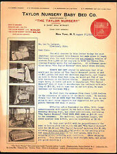 1912 Taylor Nursery Baby Bed Co - New York  Color Letter Head Rare history