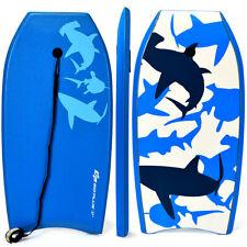 """Lightweight Body Board Surfing Water Ocean Sport Leash Boarding Blue Shark 37"""""""