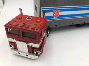 Vintage 1980s Hasbro Transformers Optimus Prime G1 Figure & Trailer