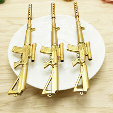 Creative Novelty Gold Rifle Shape Design Black Ink Ballpoint Pen Stationery Hot