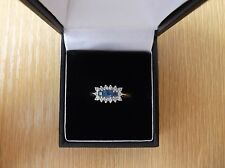 18ct Gold Sapphire And Diamond Cluster Ring Size O 1/2
