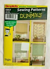 Simplicity Sewing Pattern For Dummies Uncut Window Shades  4357