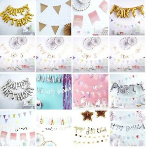 MULTI LISTING - Happy Birthday BANNERS Scripted Bunting Gold Silver Iridescent