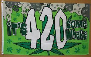 IT'S 4:20 SOMEWHERE 3'x5' banner MARIJUANA CANNABIS 420 WEED GRASS