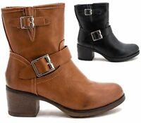 Womens Low Heels Biker Ankle Boots Ladies Buckle Shoes Grunge Style Size 3 4 5 6