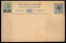 STRAITS SETTLEMENTS - 1892 Up-rated Queen Victoria Provisional Postal Card
