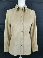 Valerie Stevens Separates Tan Suede Leather Jacket Women's Size Petite Medium