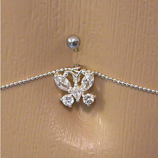 """14g 7/16"""" Crystal Butterfly Belly Button Ring with Belly Chain"""