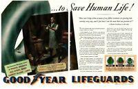 1939 2 PAGE ORIGINAL VINTAGE CENTERFOLD GOOD YEAR TIRES MAGAZINE AD