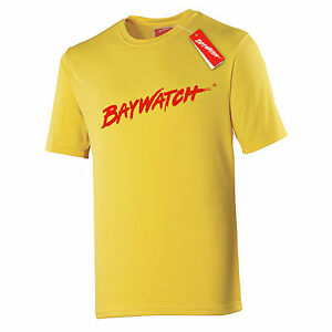 LICENSED BAYWATCH ® YELLOW MENS COOLTEX T-SHIRT SPORTS LIFEGUARD FANCY DRESS TOP