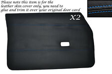 BLUE STITCH 2X FRONT DOOR CARDS LEATHER SKIN COVERS FITS FORD CORTINA MK4 MK5