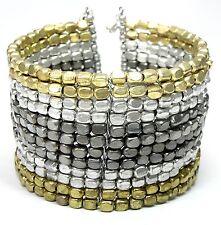 Neu ARMREIFEN mit PERLEN farben gold/silber PERLENARMBAND Armband ARMSPANGE