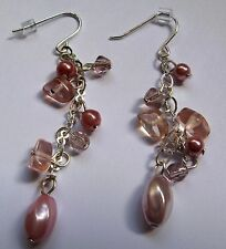 Sterling Silver Pearl and bead Drop Earrings