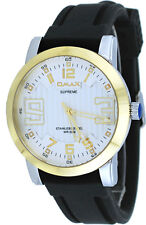 Omax Supreme ES538 Men's Two Tone Gold Siver Dial Silicone Band Watch