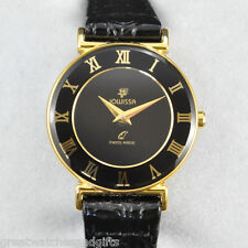 Jowissa369 L New Gold Plated Wristwatch, Black Dial, Black Leather Band, Swiss
