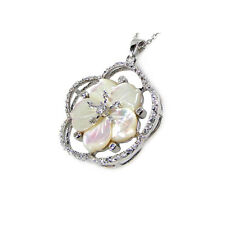 STERLING SILVER MOTHER OF PEARL CZ NECKLACE - FLOWER