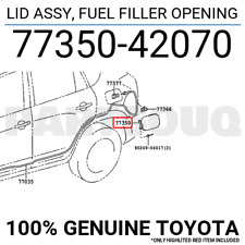 7735042070 Genuine Toyota LID ASSY, FUEL FILLER OPENING 77350-42070
