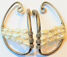 Barbara Barnett's Sterling & Pearl Hooker Earrings, BB Ear Cuffs, Hoops Hugs