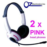 2 x Headset Headphone Microphone for PC or MAC Skype MSN VOIP PINK Girls Ladies